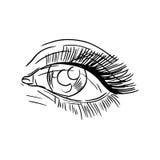 Zwart-witte manierillustratie met oog Royalty-vrije Stock Afbeelding