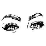 Zwart-witte manierillustratie met oog Stock Afbeeldingen