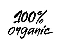 Zwart-witte met de hand geschreven inschrijving 100 organisch voor gezond eco groen concept van de het levensproductie, Moderne b vector illustratie