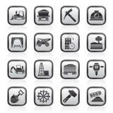 Zwart-witte mijnbouw en mijnbouw pictogrammen Stock Afbeelding