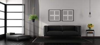 Zwart-witte minimalistische woonkamer Royalty-vrije Stock Foto's