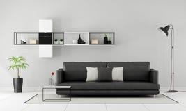 Zwart-witte minimalistische zitkamer Royalty-vrije Stock Foto's