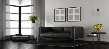Zwart-witte moderne woonkamer Royalty-vrije Stock Afbeeldingen