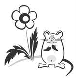 Zwart-witte muis Stock Foto's