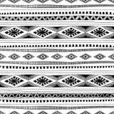 Zwart-witte naadloze etnische achtergrond Vector illustratie Royalty-vrije Stock Afbeelding