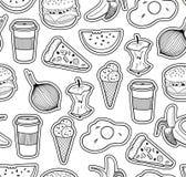Zwart-witte naadloze illustratie met voedsel Stock Foto's