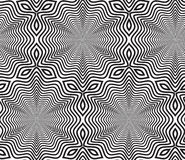 Zwart-witte Op Art Design Vector Seamless Pattern Achtergrond Royalty-vrije Stock Fotografie