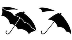 Zwart-witte open paraplu's Royalty-vrije Stock Afbeeldingen