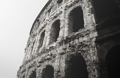 Zwart-witte oude Roman arena in Rome, Italië Royalty-vrije Stock Afbeelding