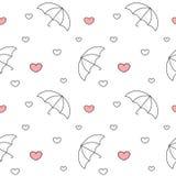 Zwart-witte paraplu's met regenende van het harten naadloze patroon illustratie als achtergrond royalty-vrije illustratie