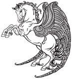 Zwart-witte Pegasus Royalty-vrije Stock Afbeeldingen