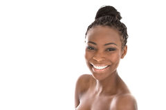 Zwart-witte portret jonge Afrikaanse Amerikaanse glimlachende vrouw - royalty-vrije stock foto's