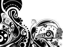 Zwart-witte psychedelische illustratie Stock Afbeeldingen
