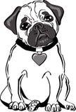 Zwart-witte pug hond stock illustratie