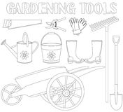 Zwart-witte reeks van het tuinhulpmiddel 9 elementen stock illustratie