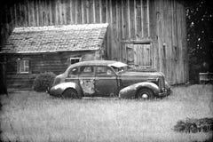 Zwart-witte Retro Auto Royalty-vrije Stock Afbeelding