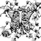 Zwart-witte ribcage met bloemen Stock Afbeeldingen