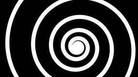 Zwart-witte roterende spiraal, de naadloze lijn van HD, die effect hypnotiseren vector illustratie