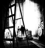 Zwart-witte ruwe fabriek Stock Fotografie