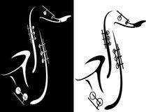 Zwart-witte saxofoon Stock Afbeeldingen