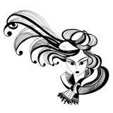 Zwart-witte schets van een meisje met hoed vector illustratie