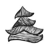 Zwart-witte schets van Kerstmisbomen Royalty-vrije Stock Foto