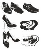 Zwart-witte schoenen Royalty-vrije Stock Foto's