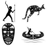 Zwart - witte silhouetten van traditioneel Australisch medicijnmanmasker, Stock Fotografie