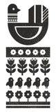 Zwart-witte Skandinavische druk met vogel Stock Afbeeldingen