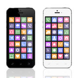 Zwart-witte smartphones met appspictogrammen Royalty-vrije Stock Foto's