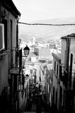 Zwart-witte Spaanse stad Stock Fotografie