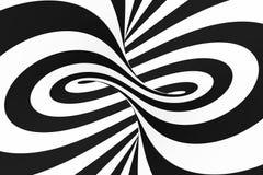 Zwart-witte spiraalvormige tunnel Gestreepte verdraaide hypnotic optische illusie abstracte achtergrond royalty-vrije illustratie