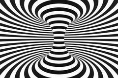 Zwart-witte spiraalvormige tunnel Gestreepte verdraaide hypnotic optische illusie abstracte achtergrond 3d geef terug stock illustratie