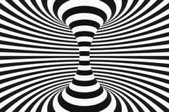 Zwart-witte spiraalvormige tunnel Gestreepte verdraaide hypnotic optische illusie abstracte achtergrond 3d geef terug vector illustratie