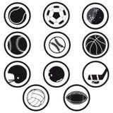Zwart-witte sportenpictogrammen Royalty-vrije Stock Foto's