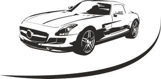 Zwart-witte sportwagenvector Stock Afbeeldingen