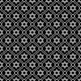 Zwart-witte Ster van David Repeat Pattern Background Stock Fotografie