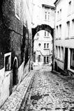 Zwart-witte Streetscape van Luxemburg stock foto's