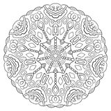Zwart-witte symmetrische cirkelpatroonmandala Royalty-vrije Stock Foto
