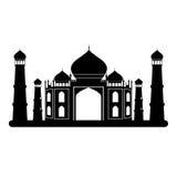 Zwart-witte Taj mahal tempel Royalty-vrije Stock Afbeeldingen
