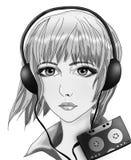 Zwart-witte tekening van een meisje met een speler Royalty-vrije Stock Afbeeldingen