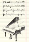 Zwart-witte Tekening van Grote Piano Royalty-vrije Stock Fotografie