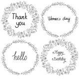 Zwart-witte tekening van kronen en bloemen in een cirkel met de woorden Royalty-vrije Stock Foto