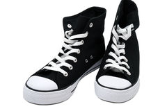 Zwart-witte tennisschoenen Stock Foto's