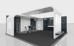 Zwart-witte tentoonstellingstribune