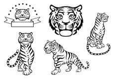 Zwart-witte tijgerillustraties Royalty-vrije Stock Afbeeldingen