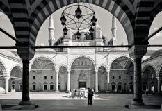 Zwart-witte Turkse Moskee met tradtionalarchitectuur royalty-vrije stock foto's
