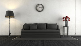 Zwart-witte uitstekende woonkamer Stock Fotografie