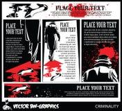 Zwart-witte Vectorbanner De moordenaar verlaat de scène van de misdaad stock illustratie
