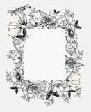 Zwart-witte vectorillustratie Uitstekend frame met bloemen Stock Afbeeldingen